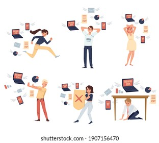 Information and data overload. People experience stress and tired due to lot of breaking news from internet and try to push away, run away or hide from it. Vector flat illustration
