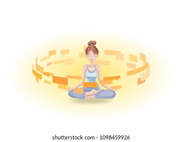 Information detox and meditation. Meditating young woman practicing in the midst of text messages and speech bubbles. Flat vector illustration. Isolated on white background.