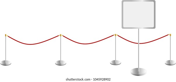 Information display with red rope barrier, isolated. Vector art, free copy space