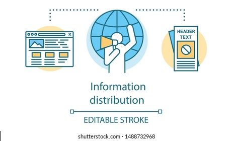 Information distribution concept icon. Peaceful resistance, propaganda idea thin line illustration. Activist with megaphone, flyers and browser window vector isolated outline drawing. Editable stroke