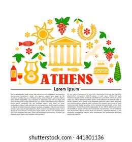 information flaer in flat style about tourism in Athens - the Greek capital