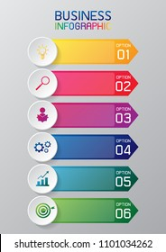 information graphic , bullet point or infographic rainbow color number option for business