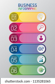 information graphic or infographic rainbow color number option for business