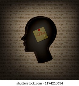 information in human brain concept, man profile with paper  inside inside and text pattern outside, remember only important, mass media and human  mind concept, vector,