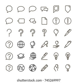 Information icon set. Collection of high quality outline info pictograms in modern flat style. Black information technology symbol for web design and mobile app on white background. Help line logo.