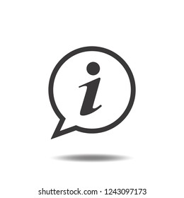 Information icon vector or info flat sign symbols logo with text or letter i and speech bubble logo illustration isolated on white background black color.Concepts object design for communication.