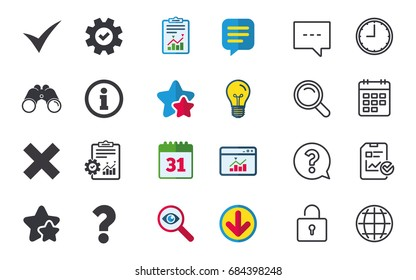 Information icons. Delete and question FAQ mark signs. Approved check mark symbol. Chat, Report and Calendar signs. Stars, Statistics and Download icons. Question, Clock and Globe. Vector