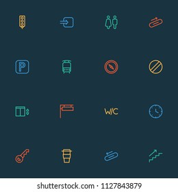 Information icons line style set with sign, disabled, compass and other semaphore elements. Isolated vector illustration information icons.