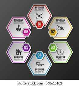 Information infographic statistic vector presentation. Graphic composition for your business presentations. Six hexahedron label for your annotations. 6 hexagon sticker for registration of proposals
