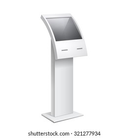 Information Kiosk, POS POI Terminal Stand on the white background. Mock Up Template. Vector illustration.