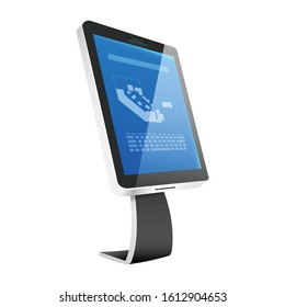 Information kiosk realistic vector illustration. Self service electronic counter flat color object. Modern technology. Commercial software with sensor panel isolated on white background