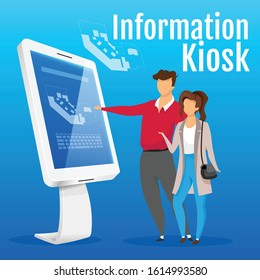 Information kiosk social media post mockup. Self service construction web banner design template. Tourists near electronic map booster, content layout with inscription. Print ads and flat illustration