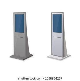 Information Kiosk,Advertising Display, Terminal Stand,Touch Screen Display.Mock Up Template.vector illustration