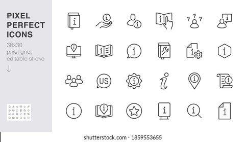 Information line icon set. Privacy policy, manual, rule, instruction, inform, guide, reference minimal vector illustration. Simple outline sign tutorial app ui 30x30 Pixel Perfect Editable Stroke.