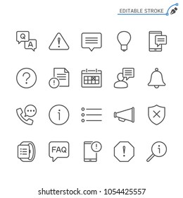 Information and notification line icons. Editable stroke. Pixel