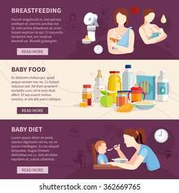 Information on babies breastfeeding and toddlers best food choices flat horizontal banners set abstract isolated vector illustration