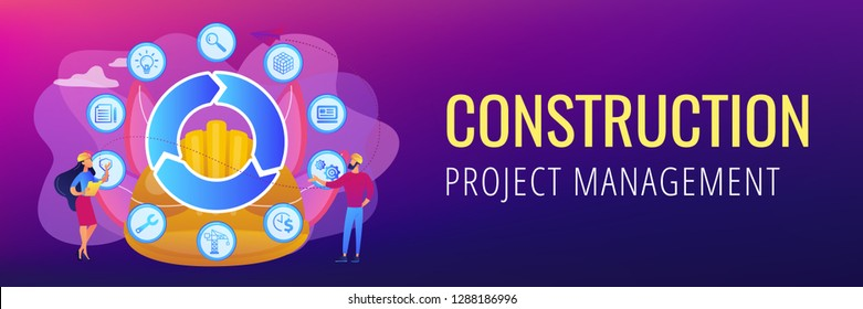 Information on full cycle of a building. Building information modeling, collaborative construction, construction project management concept. Header or footer banner template with copy space.