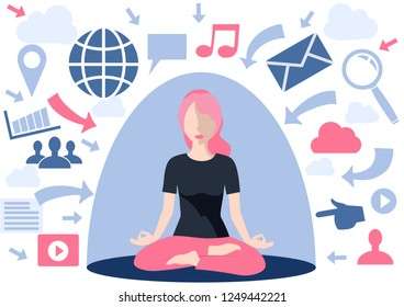 Information overload concept. Dome filter protects the girl from unnecessary information: emails, calls, communication, filters and processes it. The concept of protection, concepts big data filter.