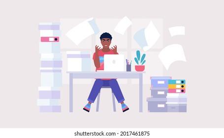 Information overload concept. Professional burnout concept. Deadline. Emotional outburst. Vector illustration in a flat style