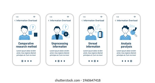 Information overload onboarding mobile app screens. Consists of comperative research method, unread info, analysis paralysis steps menu. Set of UI, UX, web template with RGB color linear icons