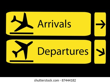 information panel on the direction of arrivals and departures at airports