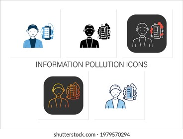 Information pollution icons set. Contamination space supply with irrelevant and low-value info.Collection of icons in linear, filled, color styles. Isolated vector illustrations