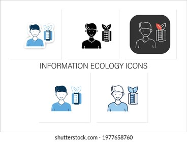 Information pollution icons set.Contamination space supply with irrelevant, redundant, and low-value info. Collection of icons in linear, filled, color styles. Isolated vector illustrations
