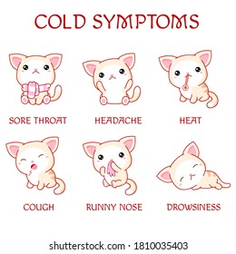 Information poster with text and cute cats. Cold symptoms - heat, runny nose, sore throat, headache, cough, drowsiness. Medical treatment and healthcare. Vector illustration EPS8