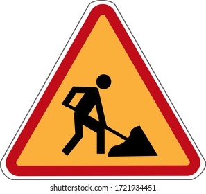 information road sign. road works. vector.