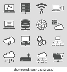 Information Science Icons. Sticker Design. Vector Illustration.
