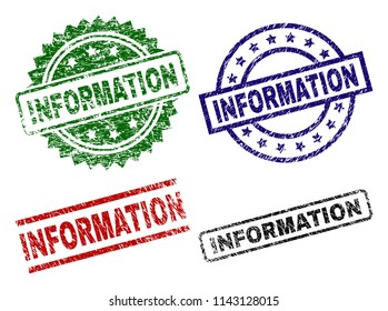 INFORMATION seal prints with corroded surface. Black, green,red,blue vector rubber prints of INFORMATION label with corroded surface. Rubber seals with circle, rectangle, rosette shapes.