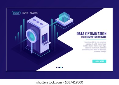 Information search data optimization concept, server room, magnifying glass, bigdata flow isometric vector