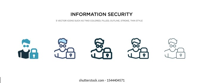 information security analyst icon in different style vector illustration. two colored and black information security analyst vector icons designed in filled, outline, line and stroke style can be