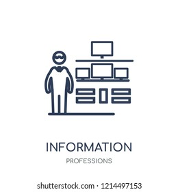 Information Security Analyst icon. Information Security Analyst linear symbol design from Professions collection. Simple outline element vector illustration on white background.
