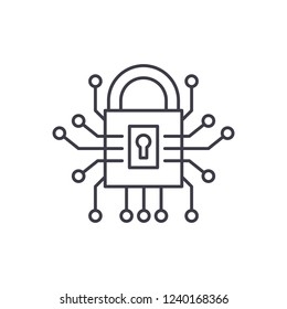 Information security line icon concept. Information security vector linear illustration, symbol, sign