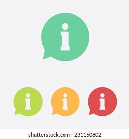 Information sign icon. Info speech bubble symbol.Flat design.