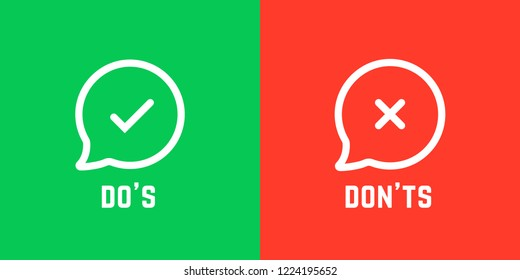 information sign like don't and don'ts. concept of answer the question like bad vs good buttons. flat cartoon linear customer complaint logotype graphic art design isolated on red and green background