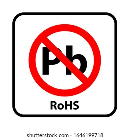 Information sign: no parabens. Content by rohs concept. Use for product labeling. Pb in the red information circle.