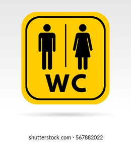 Information sign with a silhouette of a person. Vector icon for WC.