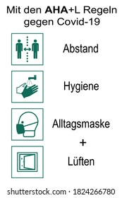 """Information signs with the new AHA + L rule. German text: """"With the AHA rules + L rules (distance, hygiene, everyday mask, airing) against Covid-19. Vector file"""