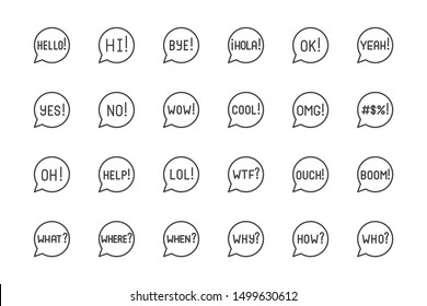 Information speech bubble flat line icons set. Wow, yes, no, omg, curse words exclamation, talk balloon vector illustrations. Outline signs for website popup. Pixel perfect. Editable Strokes.