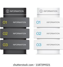 Information stand vector illustration. Black and white desk templates. Navigation board mockup.