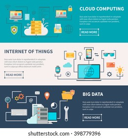 Information technologies horizontal banners set with cloud computing internet and data protection isolated vector illustration