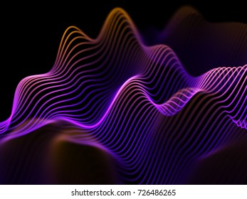 Information technology or big data analysis concept: abstract glowing curves. Futuristic background. Sound waves, business or financial charts, networking or data flow. Eps10 vector illustration