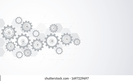 Information technology concept with infographic elements and flat icons. Cogs and gear wheel mechanisms. Hi-tech digital technology and engineering. Abstract technical background