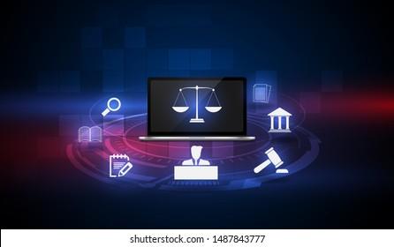 information technology internet digital justice law verdict case legal gavel wooden hammer crime court auction symbol. vector illusatration