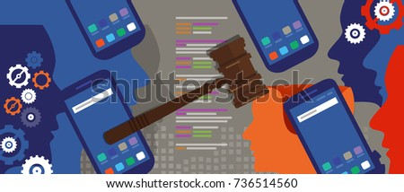 information technology internet digital justice law verdict case legal gavel wooden hammer crime court auction symbol