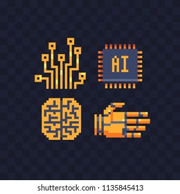Information technology pixel art icons set. Robot arm. Brain and cerebrum. Artificial intelligence data micro circuit and microchip. Isolated vector illustration. Design for stickers, logo, app.
