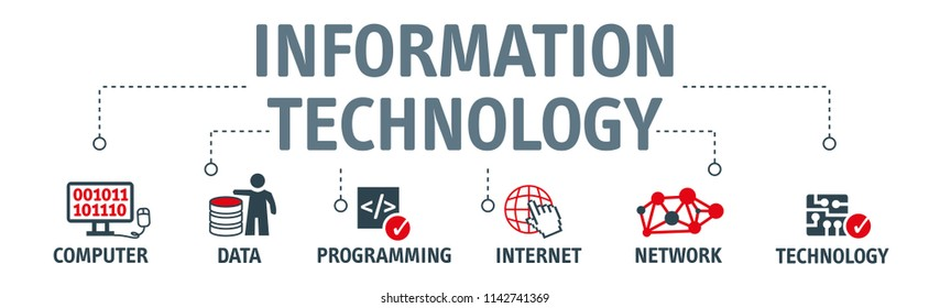 information technology vector illustration concept. Banner with Keywords and icons