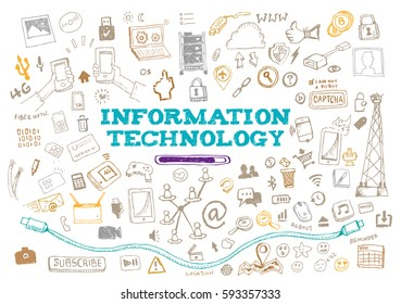 Information Technology with web elements and loading icon. Editable Clip Art.
